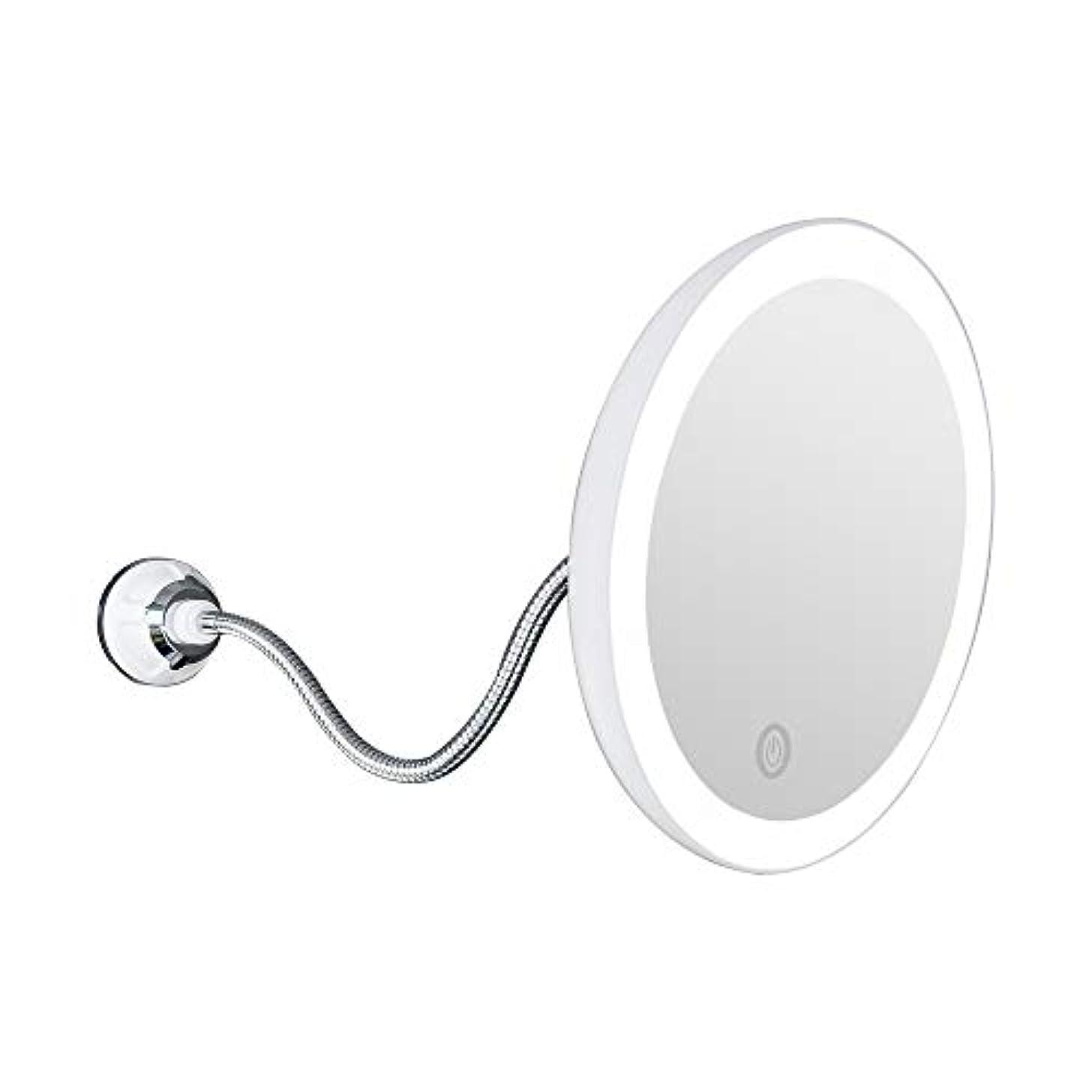 マイナススパーク秀でる10倍拡大LED照明付き化粧鏡 洗面化粧台ミラー 360度回転 柔軟な吸盤 自然光 卓上ポータブルトラベルミラー,20cm
