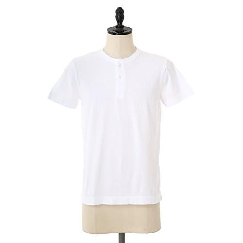 THREE DOTS[スリードッツ] henley - Sanded jersey (カットソー 半袖 ポケット Tシャツ ヘンリーネック) M ホワイト