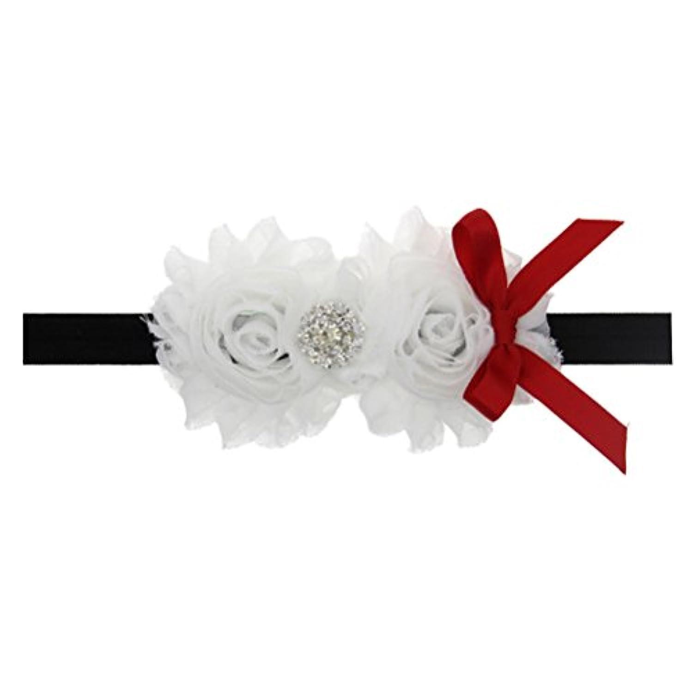 Zhhlaixing ベビー小物 Kids Baby Girls White Silk Flowers Headband Hairband Flower Hair Accessories for Christmas