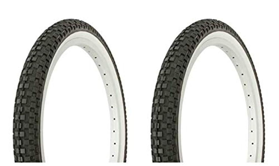 予定銛はっきりしないLowrider タイヤセット 2タイヤ 2タイヤ デュロ 20インチ x 1.95インチ ブラック/ホワイト サイドウォールバイクタイヤ 自転車タイヤ BMXバイクタイヤ