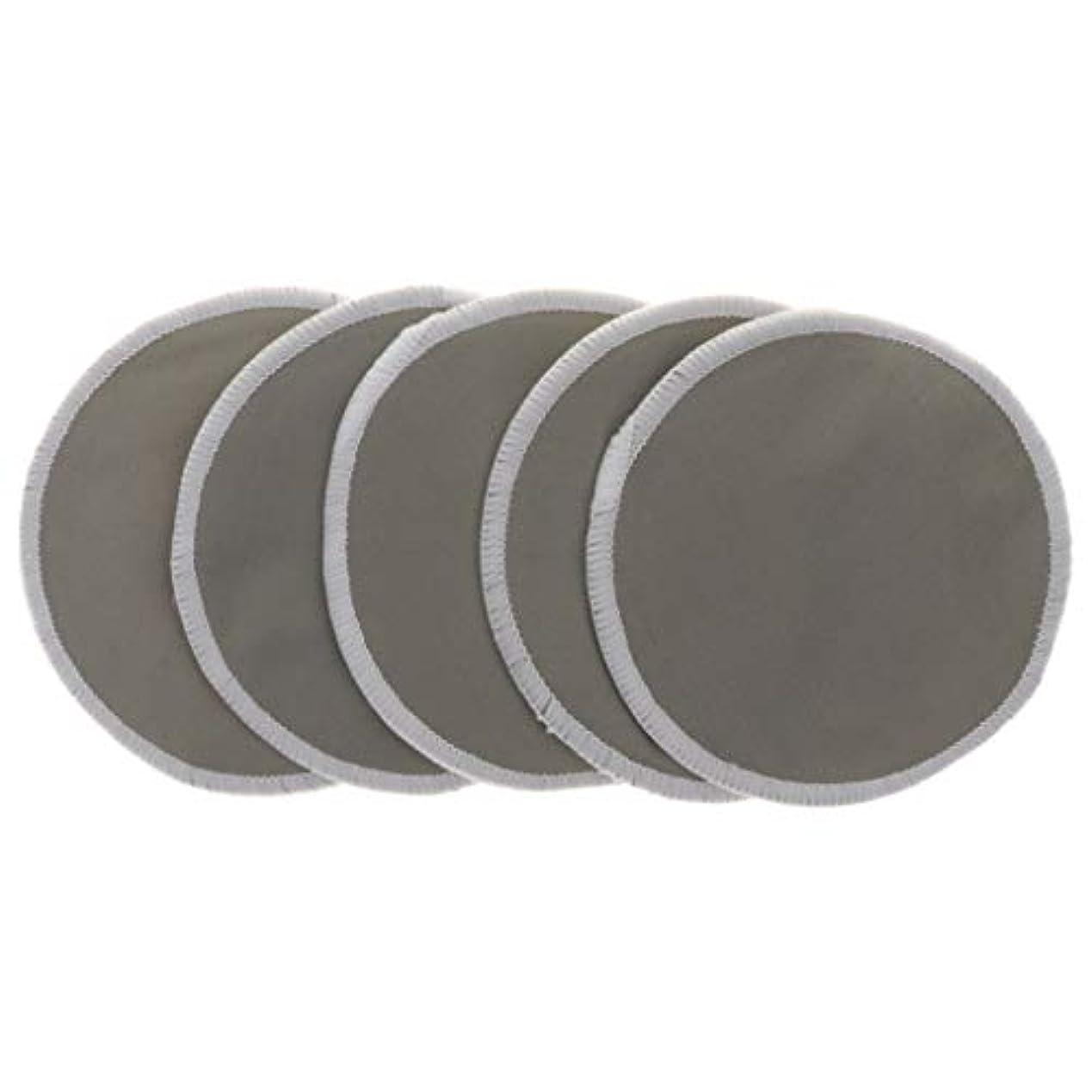 流用するやさしくスキャンダラス12cm 胸パッド クレンジングシート 化粧水パッド 竹繊維 円形 洗える 通気性 5個 全5色 - グレー