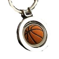 美しい 輝き メタリックな まわる バスケットボール キーホルダー