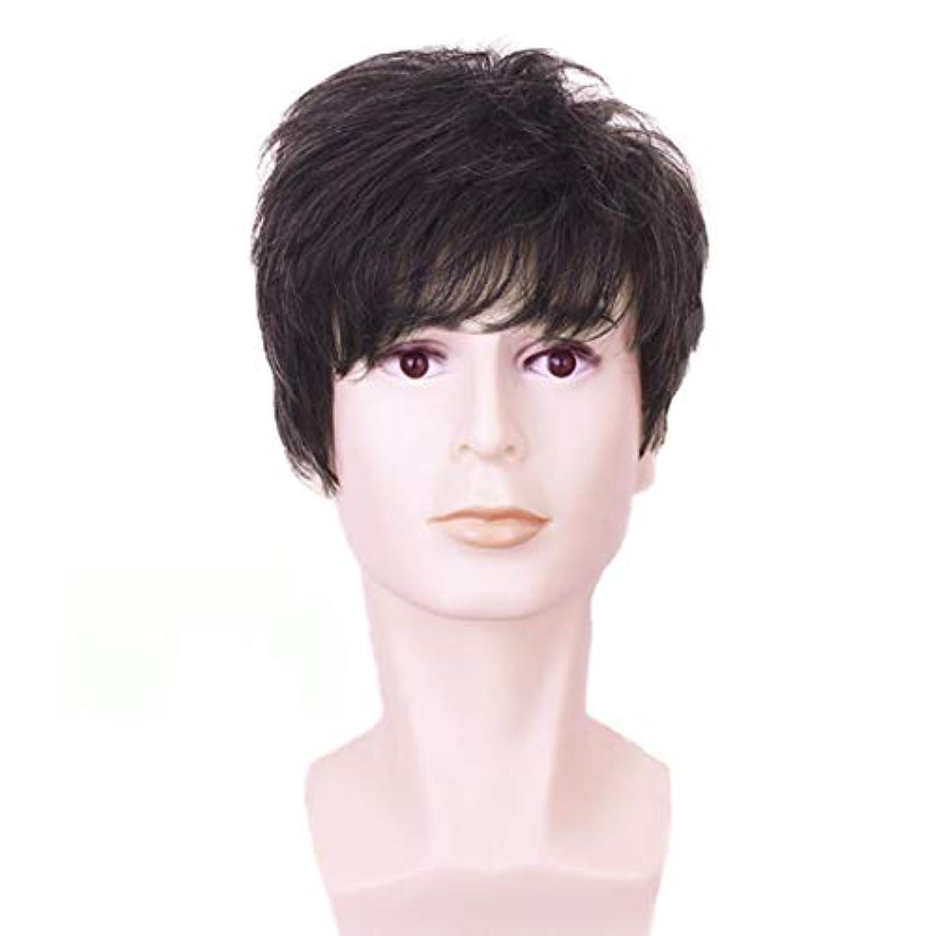 クランシー単調な強調するYOUQIU メンズ男性ガイウィッグショートレイヤー波状ハロウィンコスプレパーティーの髪10