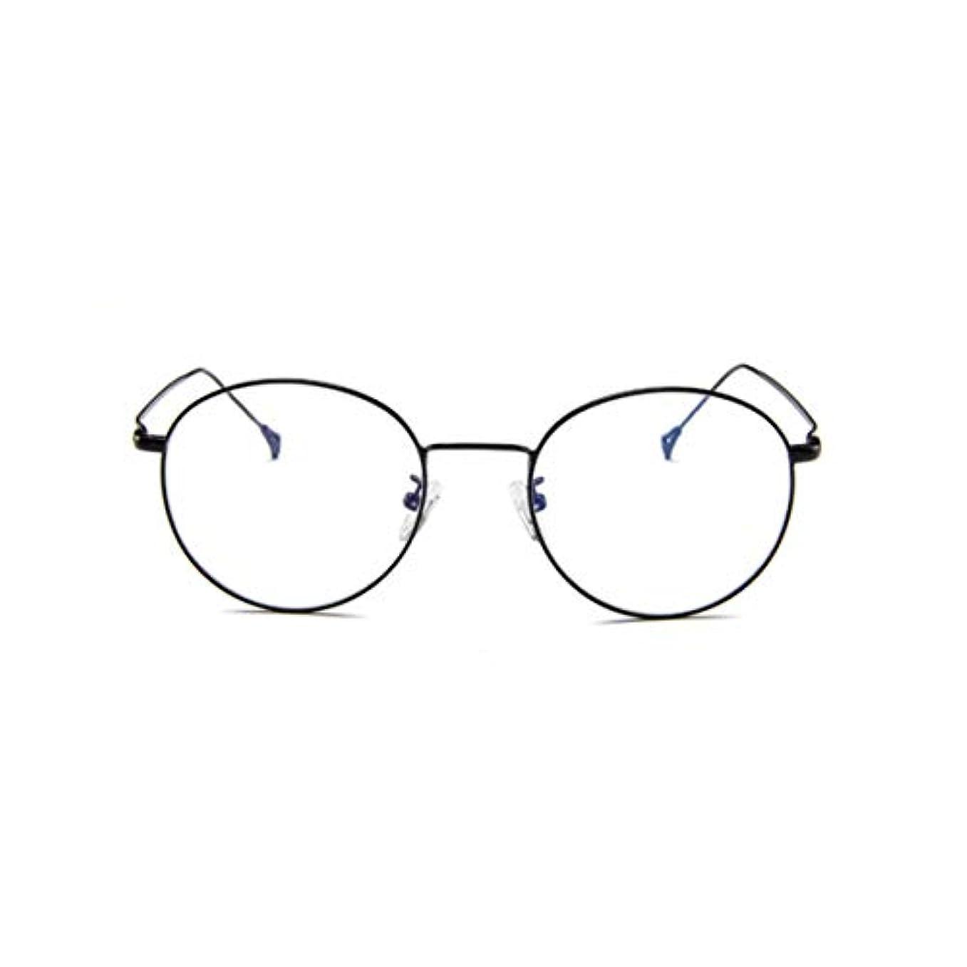 免疫推進、動かすリーフレット韓国のメガネフレームの男性と女性のレトロフラットメガネメタルトレンディメガネファッション近視メガネフレーム-ブラック