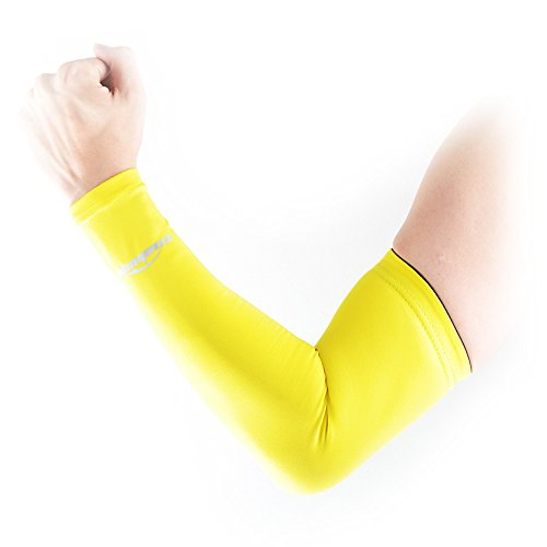 (クールオーエムジー)COOLOMG 一本入り 片腕 アームカバー 保温 速乾生地 UV 日焼け防止 イエロー XS(子供サイズ)