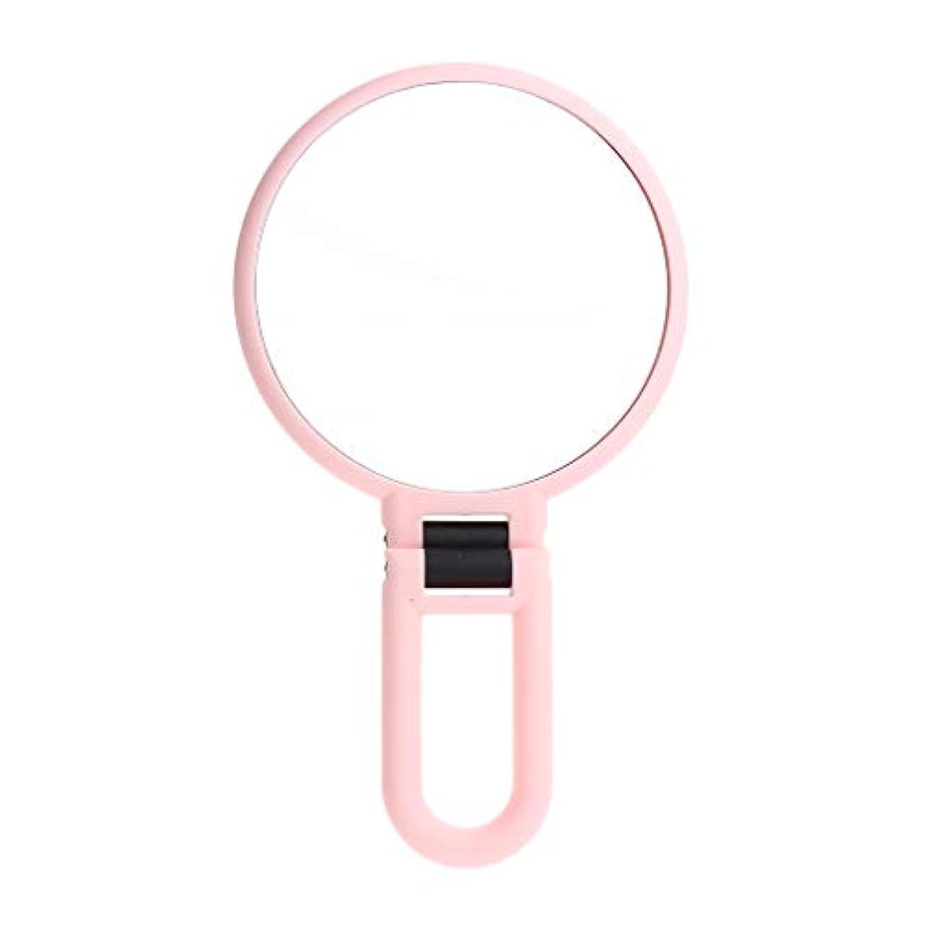 アミューズメント行き当たりばったりナイロンメイクアップミラー 拡大鏡 両面鏡 手鏡 ピンク 旅行 携帯便利 2タイプ選べ - 5倍