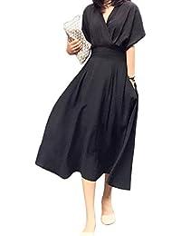 (イノ)Yino ワンピース レディース マキシワンピース Vネック 半袖 大きいサイズ ロングワンピース ウエストゴム 爽やか ゆったり 楽ちん 体型カバー 着痩せ 通勤 OL お出かけ お洒落 魅力 上品 ドレス 夏