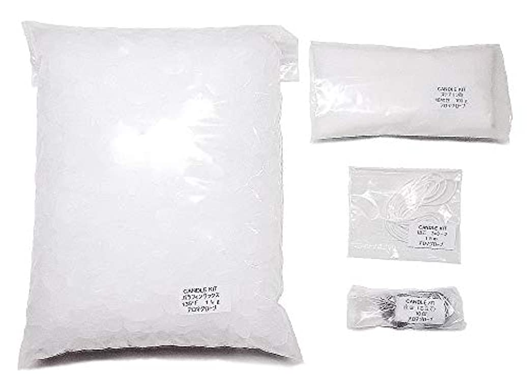 皿アンケートオン手作りキャンドルキット材料(パラフィンワックス1kg,座金10個,芯1.5m,ステアリン酸)作り方説明書付