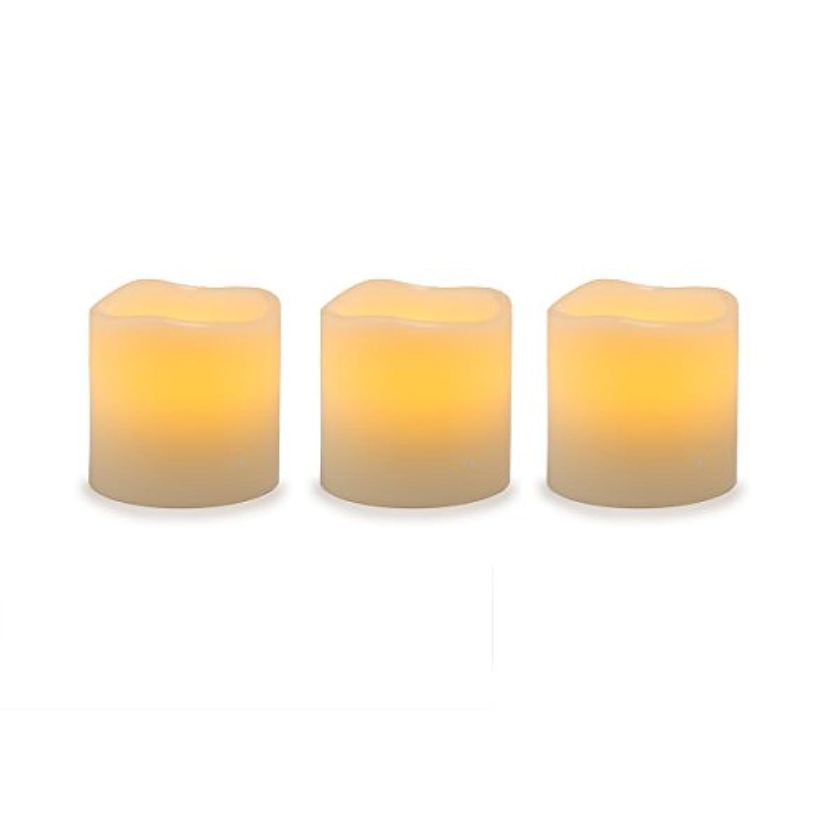 可聴検出器マンモスDarice電池式LED Pillar Candleセット、3ピース