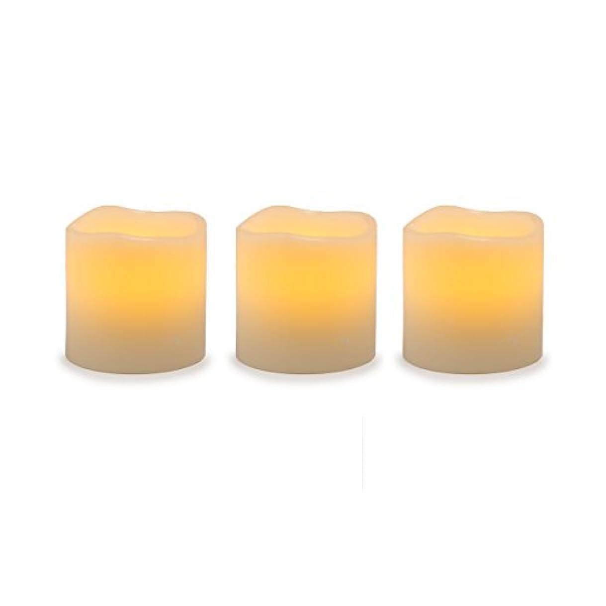 収益肌溶かすDarice電池式LED Pillar Candleセット、3ピース