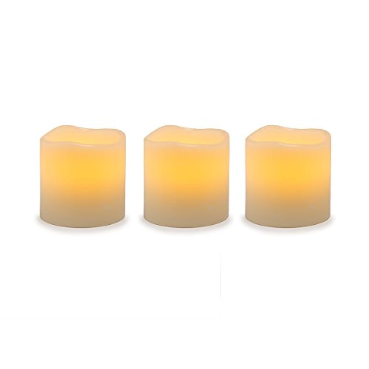 高原ズームインする最後のDarice電池式LED Pillar Candleセット、3ピース