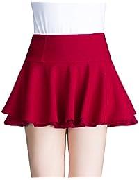 レディース aライン プリーツ スカート ストレッチ フリル かわいい 無地 ミニスカート 学生 透け防止 白 黒 レッド