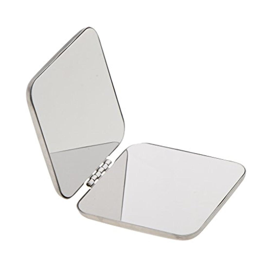 威信ダブル意外Kesoto ステンレス メイクミラー 拡大鏡 折りたたみ式 両面鏡 ミラー ステンレス製 持ち込み便利