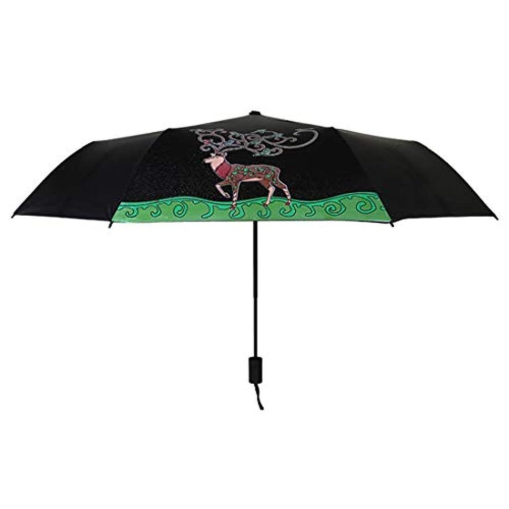 前部拒絶スペクトラムHOHYLLYA 水の中の三つ折りカメレオンエルクブルーム日焼け止め傘日傘スポーツ傘 sunshade (Color : ブラック)
