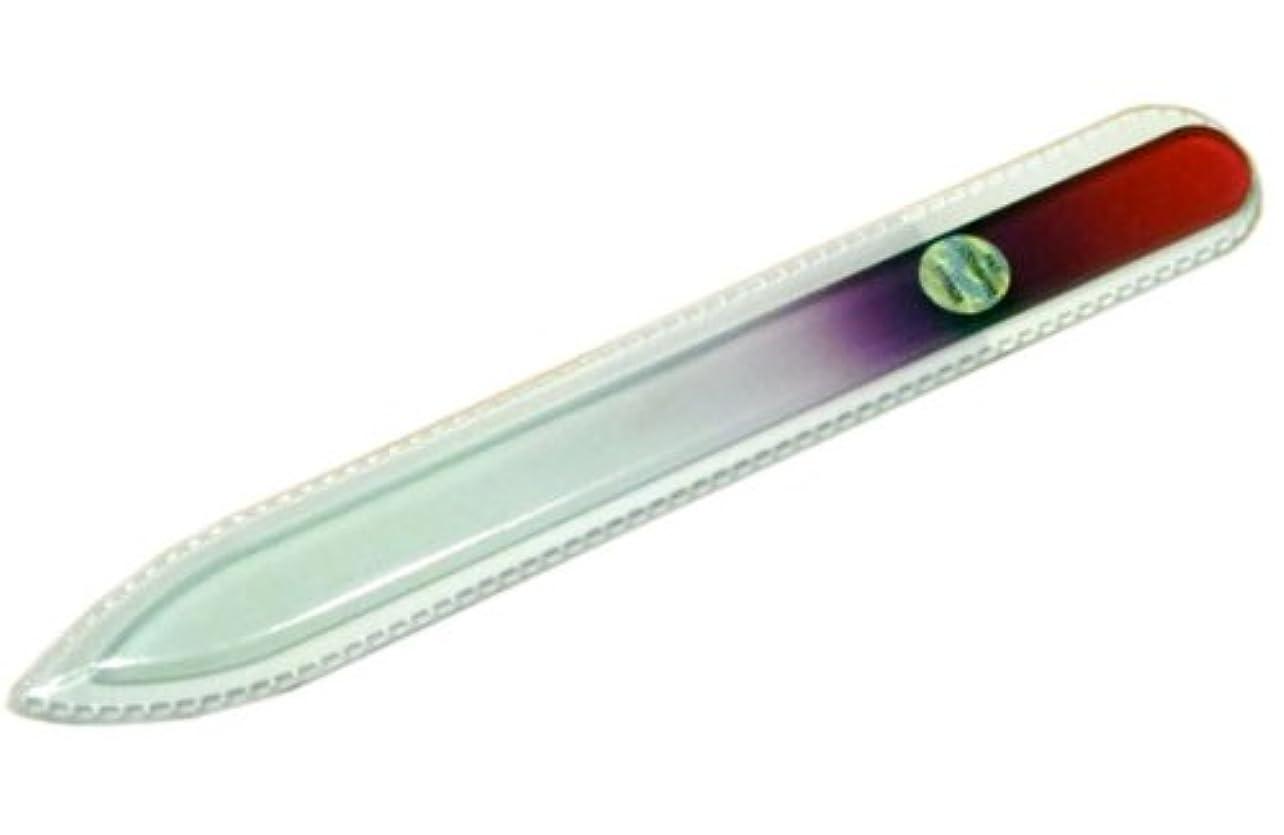 南怒る形状ブラジェク ガラス爪やすり 140mm 片面タイプ(パープルグラデーション #03)