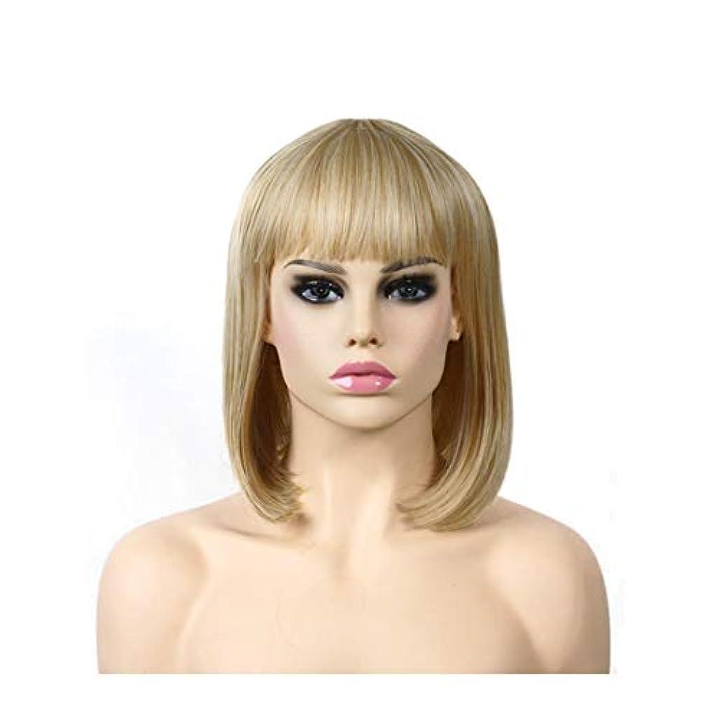 ラバハーネスポークYOUQIU ゴールドロングストレートヘアウィッグ高温シルクヨーロッパやアメリカのファッションショルダーウィッグウィッグ (色 : ゴールド)