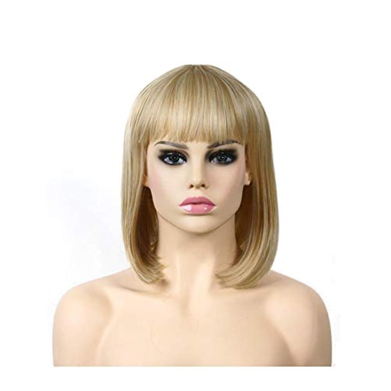 アトムネイティブ方法YOUQIU ゴールドロングストレートヘアウィッグ高温シルクヨーロッパやアメリカのファッションショルダーウィッグウィッグ (色 : ゴールド)