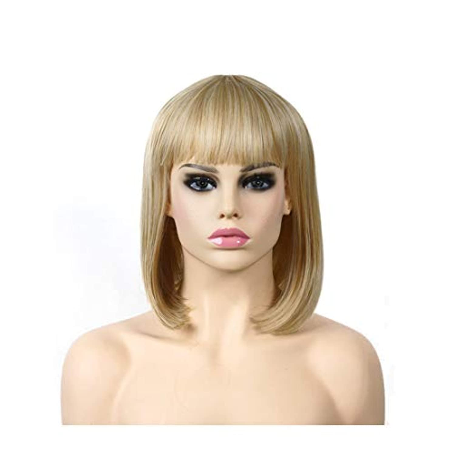 バルーン増加するによるとYOUQIU ゴールドロングストレートヘアウィッグ高温シルクヨーロッパやアメリカのファッションショルダーウィッグウィッグ (色 : ゴールド)