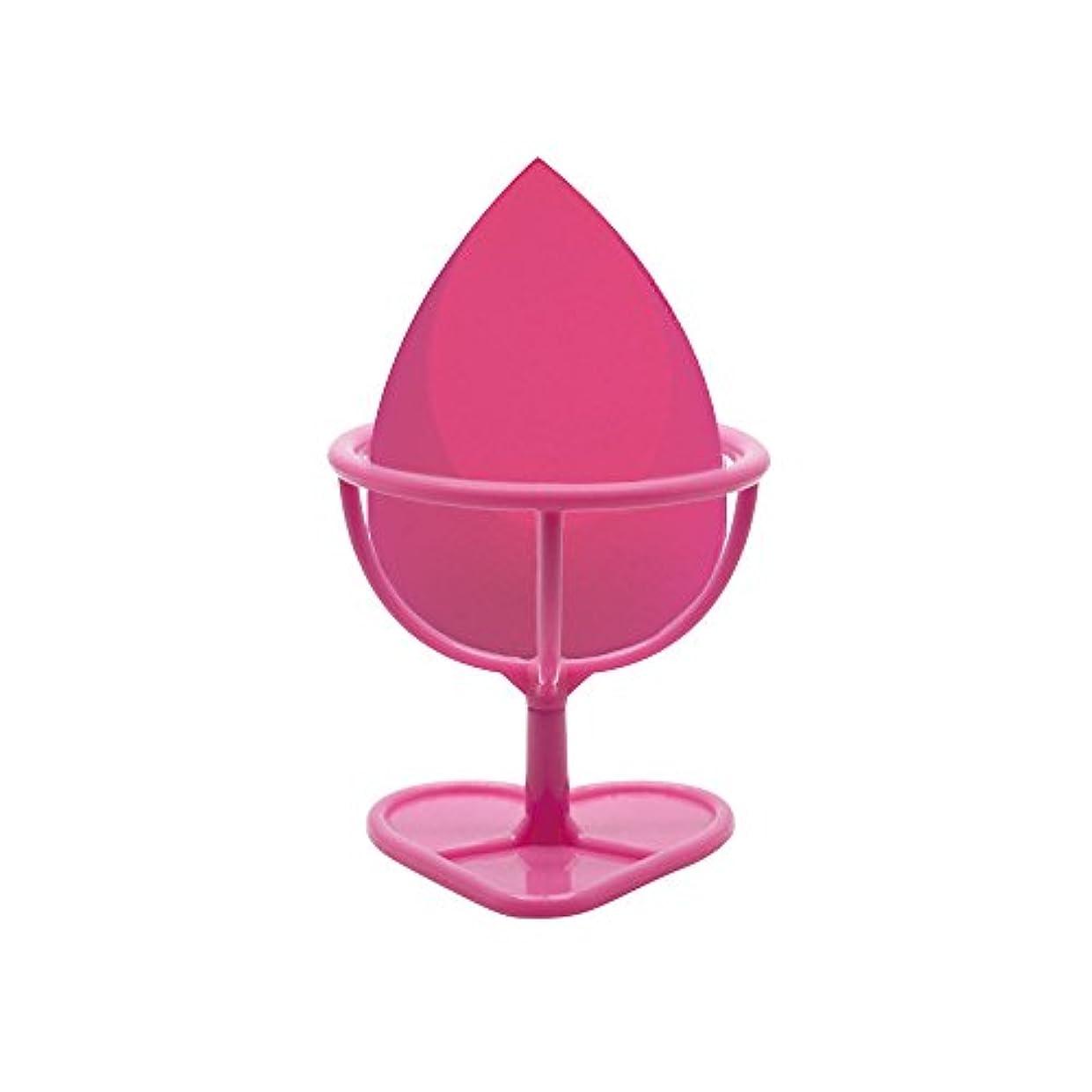 豚家主アプトHeybeauty メイクスポンジ 斜めカット?卵型 化粧パフ ボックス付き パフ乾燥用スタンド付き ローズレッド