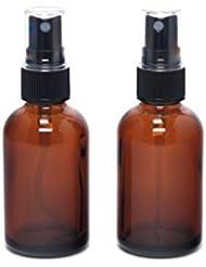 遮光瓶 蓄圧式ミストのスプレーボトル 50ml アンバー(茶色) / ( 硝子製?アトマイザー )ブラックヘッド × 2本セット / アロマスプレー用