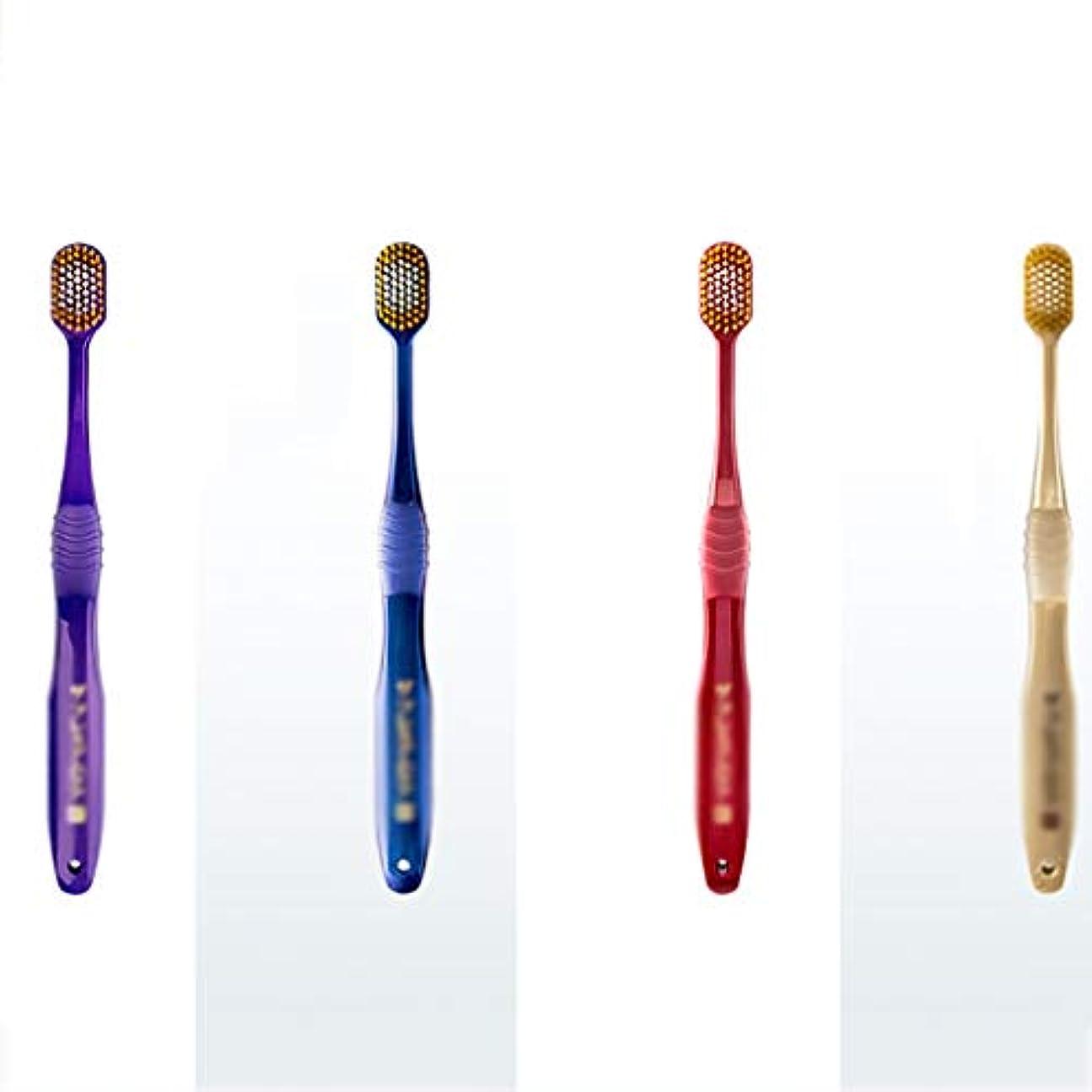 共和党アウトドアつぼみ手動歯ブラシ、65ホールの広向かったアダルトソフト毛先歯ブラシ、4パック(ランダム配信)