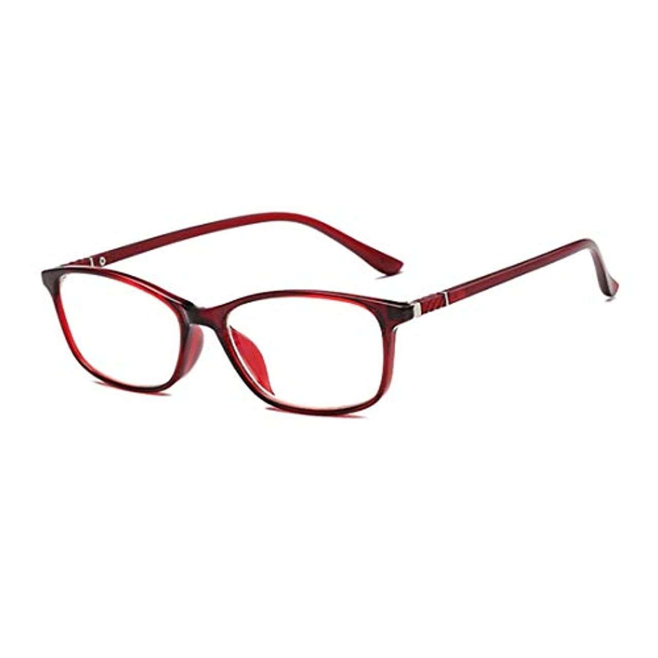 レディースファッションリーダー読書用メガネ、コンピューターアンチブルーライト抗疲労メガネ、目を保護、非球面レンズ、透明で透明