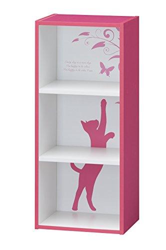 RoomClip商品情報 - 白井産業 【SHIRAI】 マルチラック カラーボックス 簡単組立 猫柄 シャローゼ ピンク CRS-9040 PK