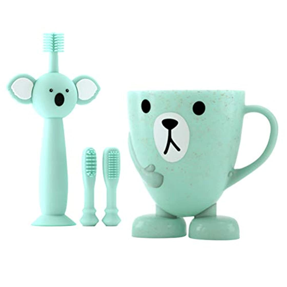 信頼性ラベル使用法TOYANDONA 赤ちゃんの歯のクリーニングセット幼児シリコン歯ブラシ2個付き交換用ブラシヘ??ッドカップ4個