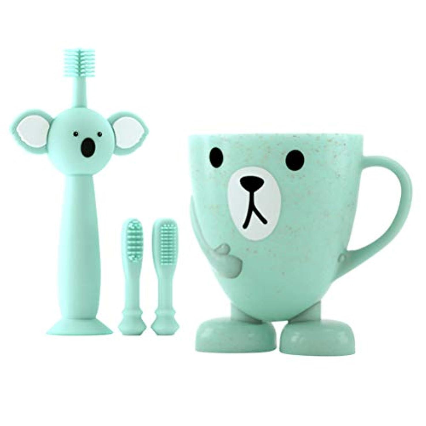 分割そっと過度のTOYANDONA 赤ちゃんの歯のクリーニングセット幼児シリコン歯ブラシ2個付き交換用ブラシヘ??ッドカップ4個