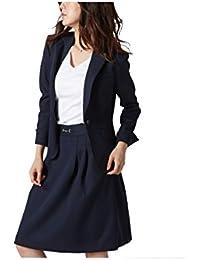 (ニッセン) nissen スカートスーツ 洗える 上下 セット ( テーラードジャケット + タックフレアスカート ) 変り織 レディース 7号 9号 11号 13号 15号 17号