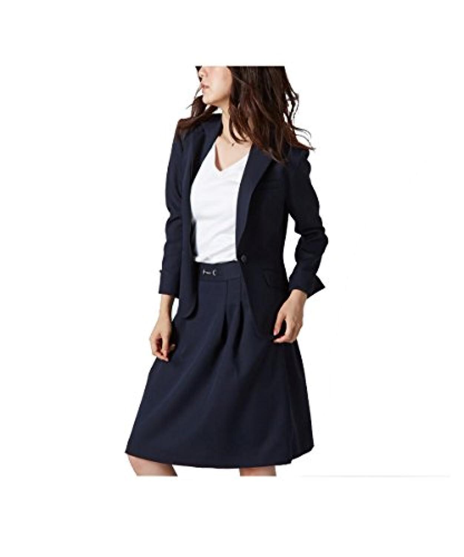 [nissen(ニッセン)] スカートスーツ 洗える 上下 セット (テーラードジャケット + タックフレアスカート) 変り織 レディース 7号 9号 11号 13号 15号 17号