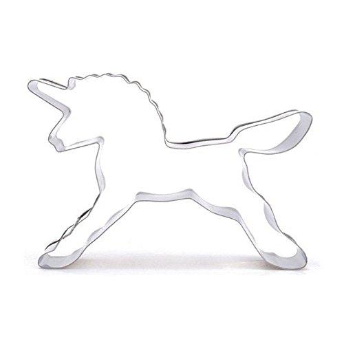 Kicode クッキーの抜き型 ケーキDIY ビスケットサクラフート かわいい動物のユニコーンの馬の形 シルバークッキーモールド