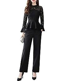 EASONDDD セットアップ レディース レース ストライプ パーティー ドレス パンツ スーツ ブラウス フレア カジュアル 通勤 結婚式 フォーマル お呼ばれ 二次会 披露宴 大きいサイズ