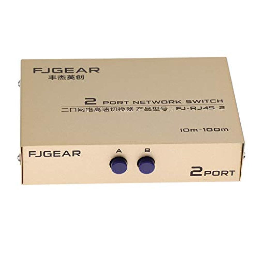 名声息切れフィットH HILABEE 2ポートAB手動ネットワーク共有スイッチボックス 2IN1 / 1IN2 Rj45イーサネットスイッチャー 金属