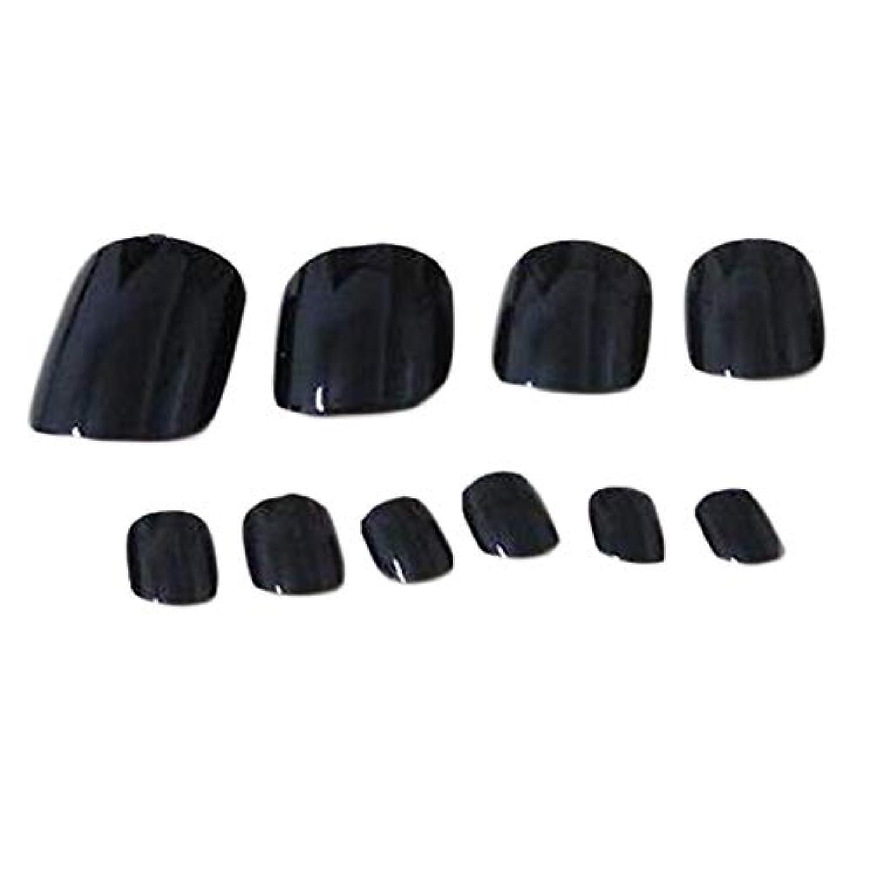 グラマー準備するお別れ1ボックス - 120の人工爪黒偽爪ネイルデコレーション
