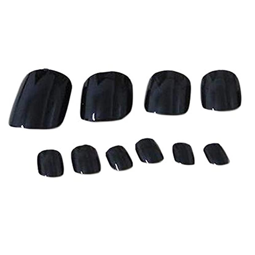 1ボックス - 120の人工爪黒偽爪ネイルデコレーション