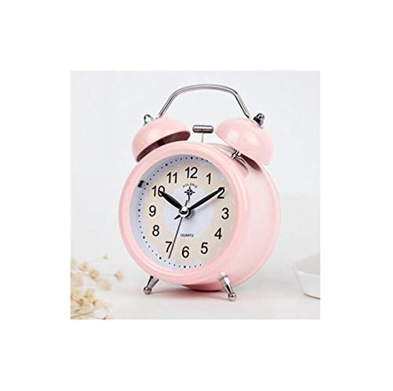 熟読褐色グラフKaiyitong001 目覚まし時計、ナイトライトミュートクォーツ人格目覚まし時計、創造的な学生ダブルベルアラーム、金属寝室のベッドサイドベルアラームテーブル、青 (Color : Pink)
