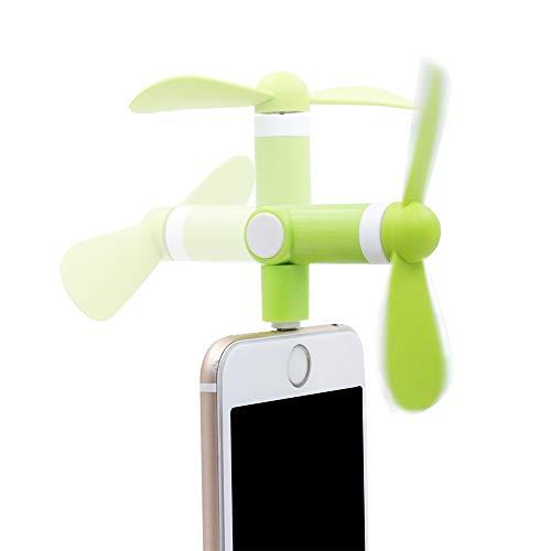 TOGEDI スマホ扇風機 ミニファン 180度回る 角度調整可能 省エネ 手持ち iphone6S PLUS 7PLUS 小さい ファン 静か 携帯便利 TPE 環境保護材料 超小型ポータブル モバイルファン 収納便利 グリーン