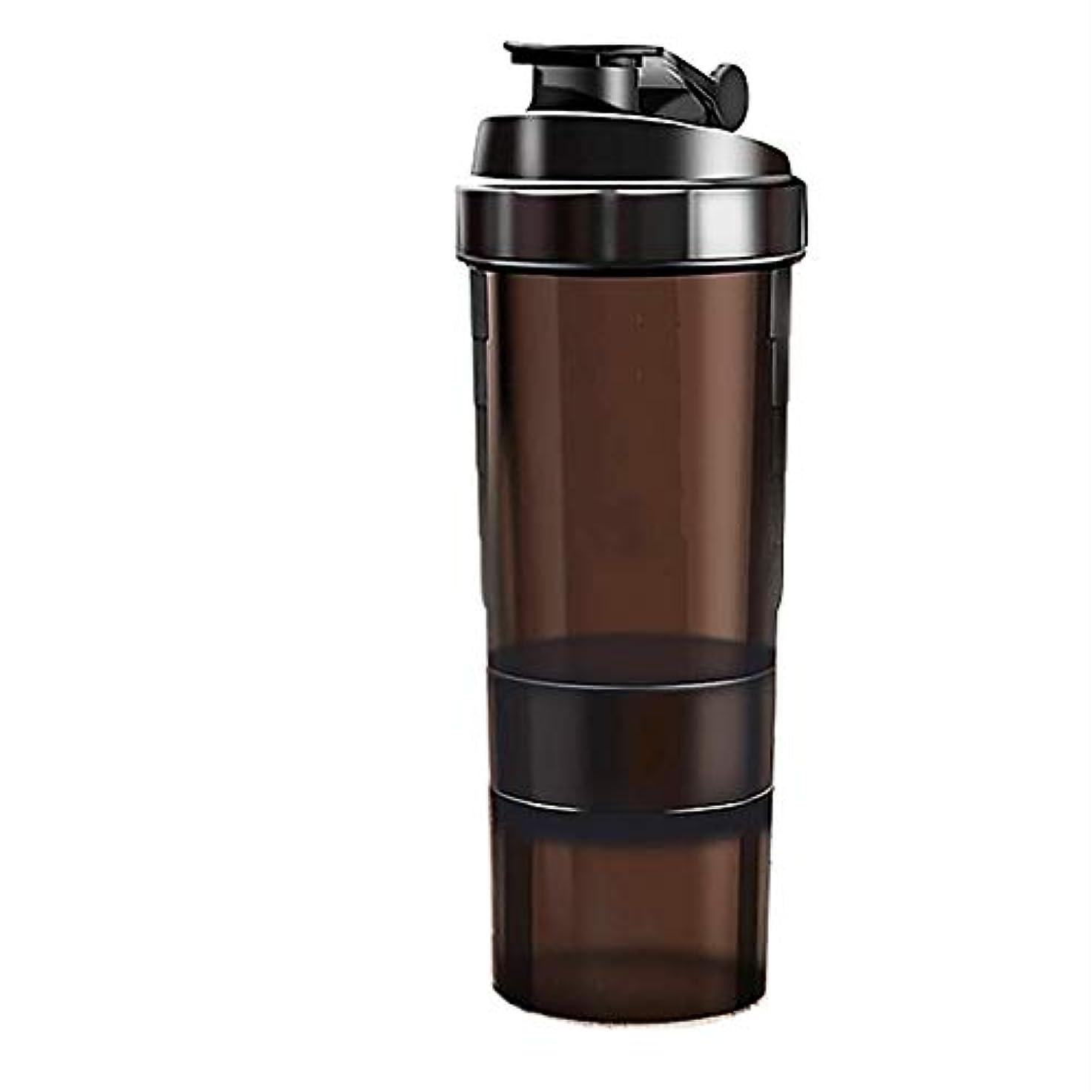 嫌がらせ謙虚気づかないミルクセーキ シェイクカップフ[ 最新デザイン ] 多層タンパク質粉末 シェイクカップフ ィット ネススポーツウォーターボトル 旋風やかんミルク スケールティーカップ(ブラック)