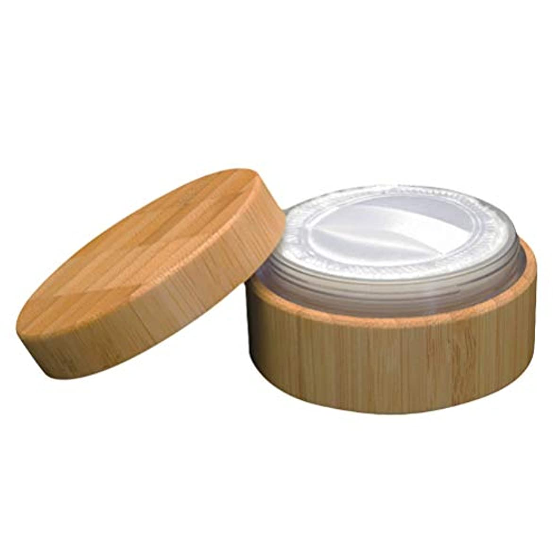 ファイルボス小学生Frcolor 空のパウダーケース 竹製 ??化粧品 diy 詰み替え容器 メイクスポンジホルダー 蓋とパウダーパフ付き 30ml