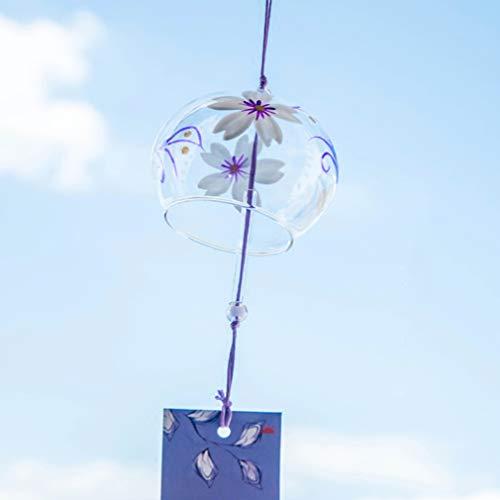 ガラス 風鈴 夏の風物詩 江戸風鈴 吊り飾り, 紫短冊 (大丸)