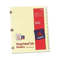 Avery ® Printedラミネートタブディバイダー銅強化穴とインデックス、銅reinfd、月(パックof20)