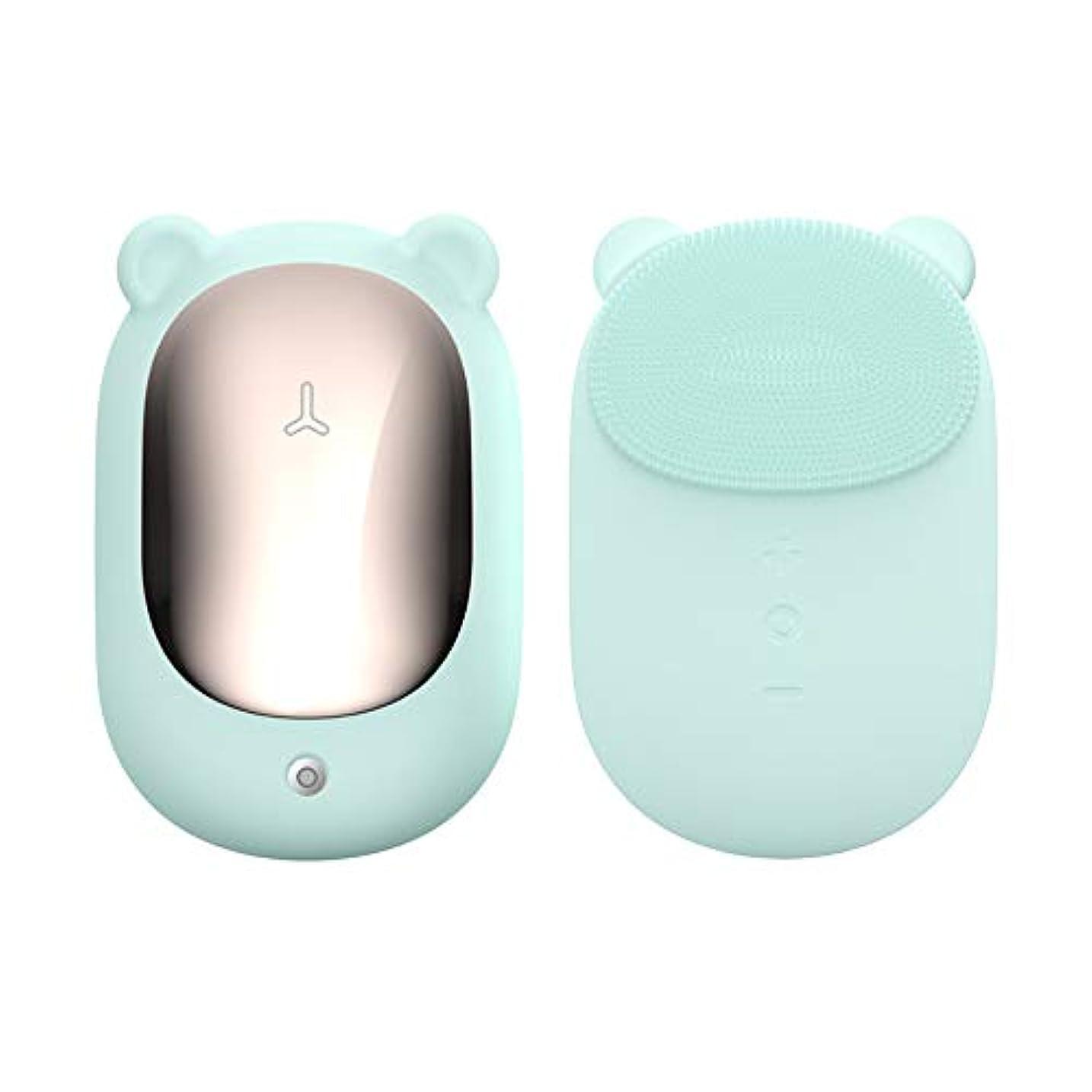 要旨ロケーションボトル電気シリコーンの顔の清潔になるブラシ、携帯用表面ブラシのマッサージャーの皮の清潔になる再充電可能な防水深い清潔になること,グリーン