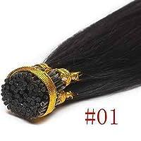FidgetGear 100 / 200Sケラチンスティック私はブラジルのリアルレミー人間の髪の毛の拡張子16-24インチ #01漆黒