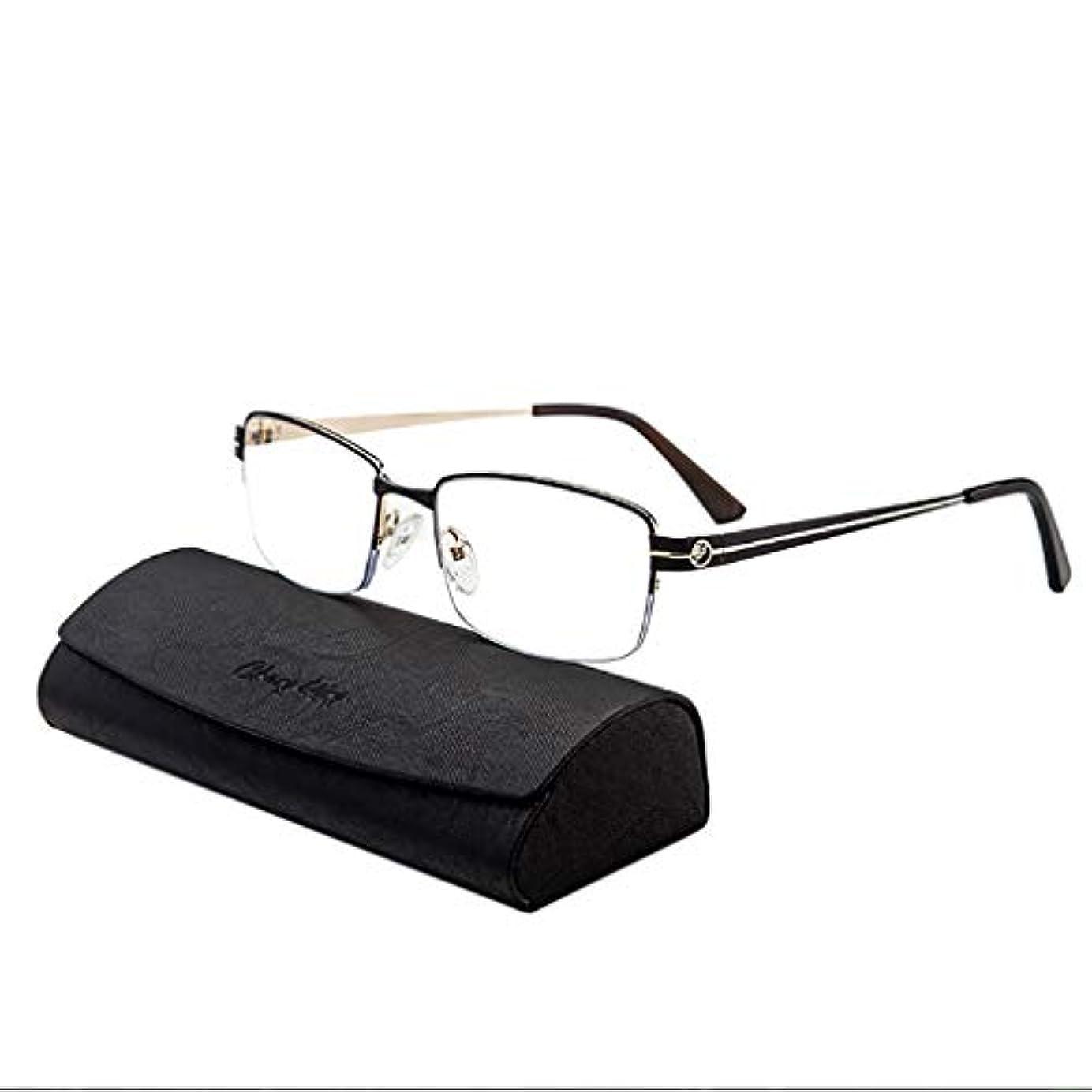 インテリジェントズームメタルハーフフレーム老眼鏡メンズ春ヒンジステンレススチール材質リーダーFar/Near HDコンフォート、+ 1.0?+ 3.0