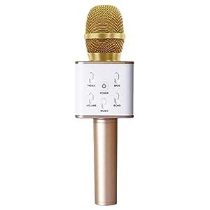 簡単カラオケ Bluetooth カラオケマイク スピーカー付き ゴールド s52cd-230