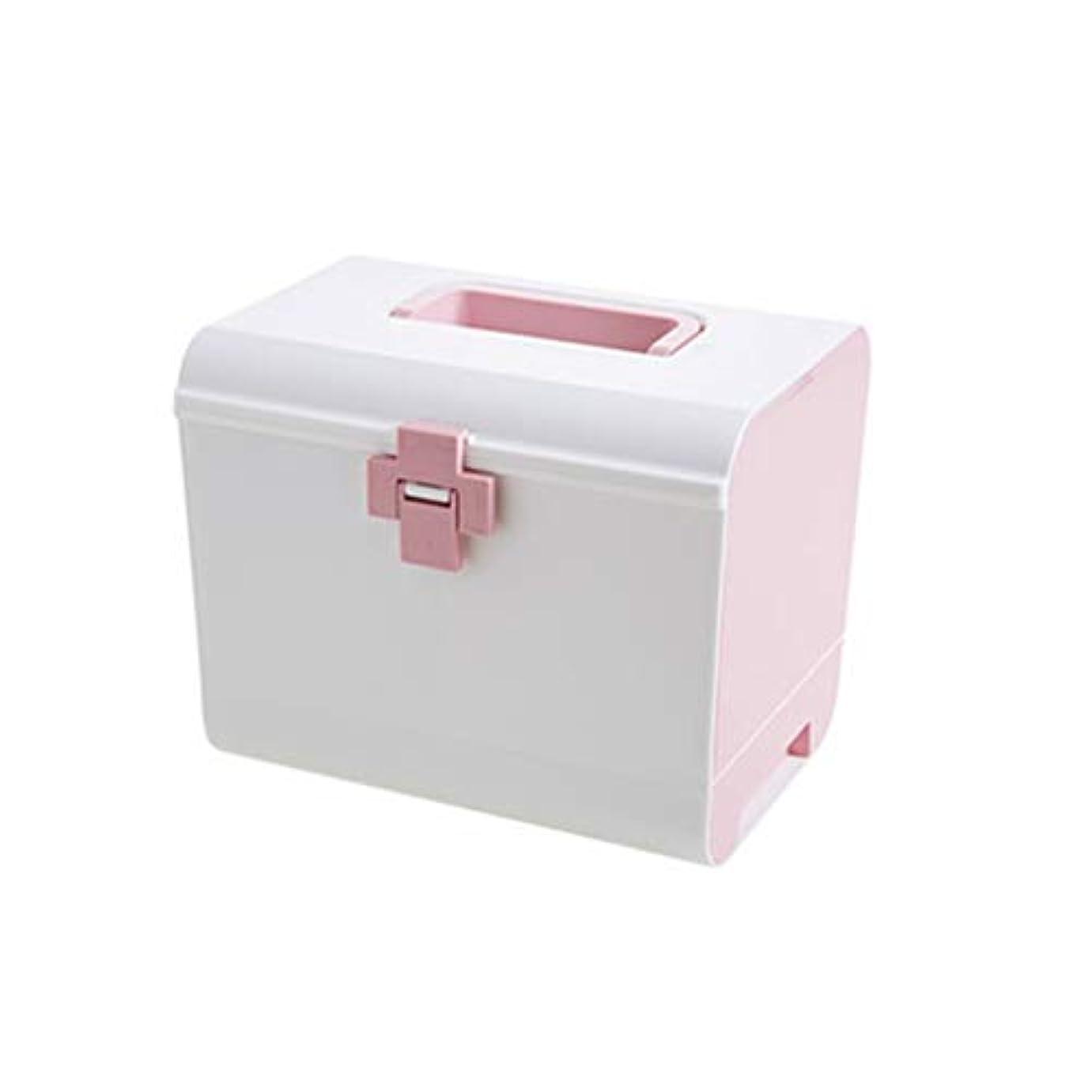 流瞑想するランプSGLI プラスチック多層薬箱、大型救急箱、大容量薬収納箱 (Color : Pink)