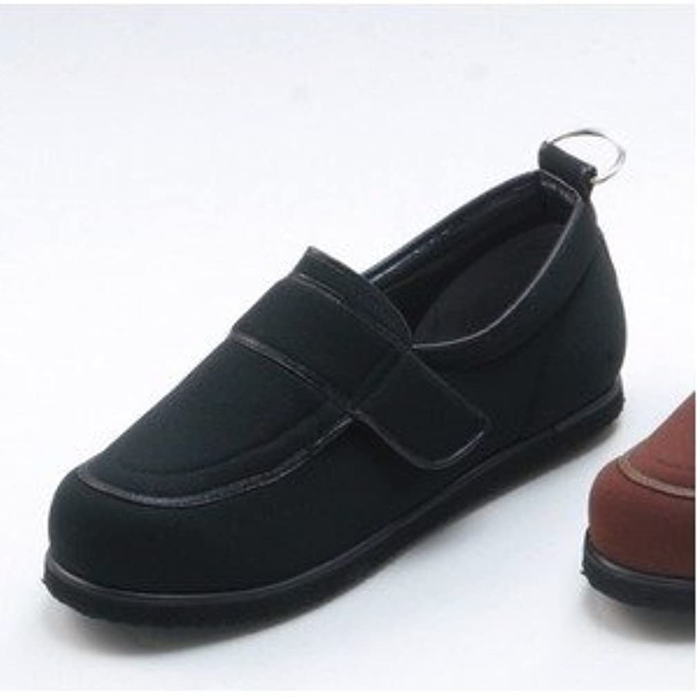 誰ピジン皿介護靴/リハビリシューズ ブラック(黒) LK-1(外履き) 【片足24.5cm】 3E 左右同形状 手洗い可/撥水 (歩行補助用品) 日本製