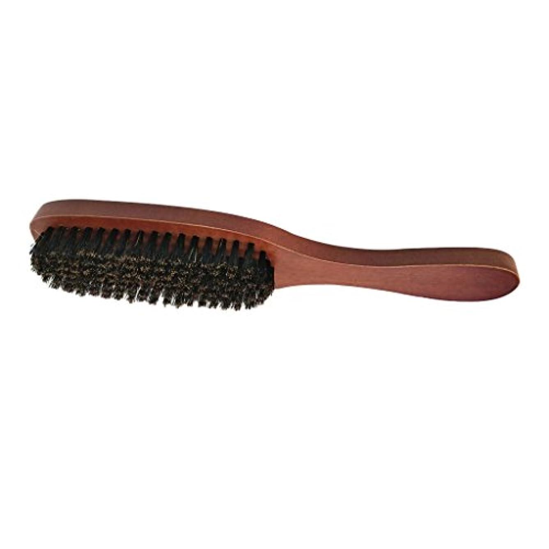 せっかちオークバレル男性ナチュラルしっかり剛毛ブラシひげ口ひげスタイリンググルーミングシェービング木製ハンドルくしすべてのひげバーム&オイル - #1