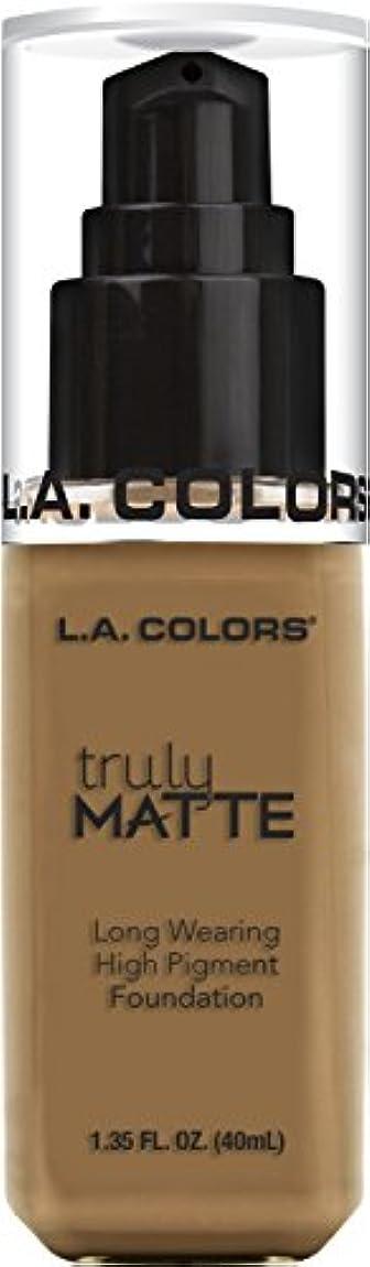 メーカー偉業司法L.A. COLORS Truly Matte Foundation - Warm Caramel (並行輸入品)